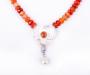 """""""Viola"""" anheng/lås i sølv med mandarin granat, perle anheng og kjede av agat"""