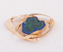 Brooch / lock in yellow gold with an Azurite Malakite geode