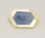 Brooch in yellow and white gold with blue sapphire crystal.
