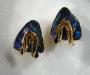 Earrings in yellow gold, Australian boulder opal splits.