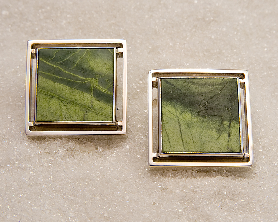 Cufflinks in sterling silver with epidotfels from Norway.