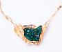 Pendant/ Lock in yellowgold with Dioptase Crystal and 2 diamonds