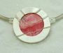 Pendant / lock in sterling silver with rhodocrosite slice. Necklace in 925S silver.