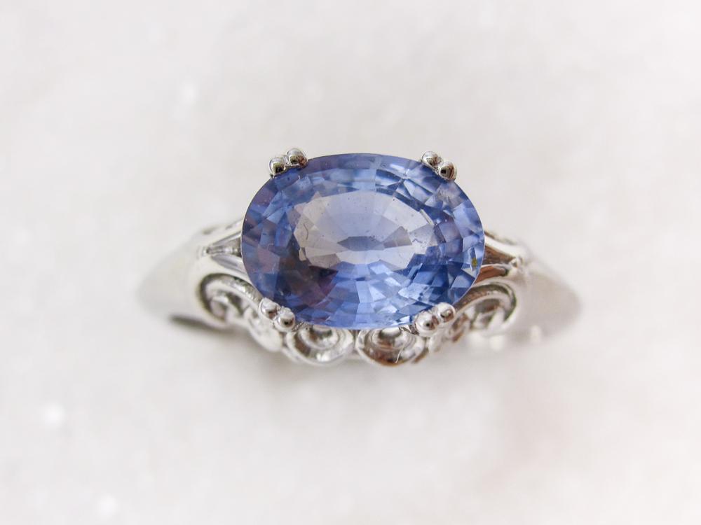 Ring i platina med blå safir