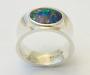 Ring i 925S sølv med opal triplet.