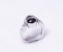Ring in white gold with black Star Sapphire and 2 diamonds