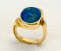 "Ring in yellow gold with opal triplet ""Cabochon ring"""