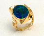 "Ring in yellow gold, model: ""Glacia"" with opal triplet."