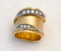 Ring in yellow and white gold with diamonds.
