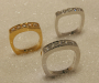 Eternity rings in yellow or white gold with diamonds.