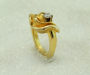 """Ring in yellow gold with diamond, model: """"Lotus""""."""