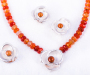Jewellery set Viola in silver with mandarine garnet and agate necklace