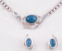 Lock and necklace in silver with Aquamarine