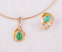 Pendant and ring in yellow gold, Paraiba Tourmaline cabochon and diamond
