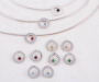 """Pendant and earrings """"øyestein"""" in silver with assorted cabochons"""