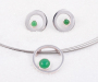"""Pendant and earrings """"øyestein"""" in silver with Crysoprase cabochons"""