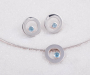 """Pendant and earrings """"øyestein"""" in silver with blue Topaz"""
