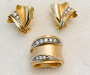 Jewellery set, ring and earrings in yellow and white gold with diamonds.