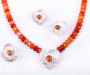 """Smykkesett """"Viola"""" i sølv med mandarin granat og kjede av agat"""